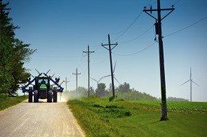 Farmer on Road, Wind Turbines