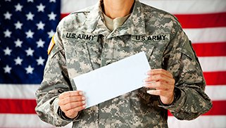 Soldier: Holding a Blank Envelope