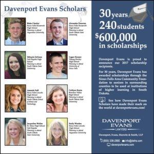 Davenport Evans Scholars 2017