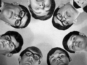 The Tensions, clockwise from the top:  Dan Kubel, Doug Hajek, Bob Bainbridge, Dennis Gale, Fred Sayler, Dennis Cokeley, Don Hajek.