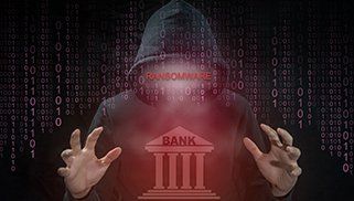 Hacker using ransomware for attack bank system