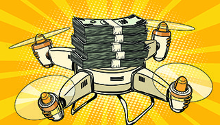 Drone copter with bundles of money