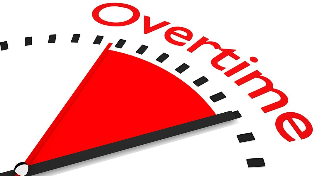 Overtime clock with red seconds hand area overtime