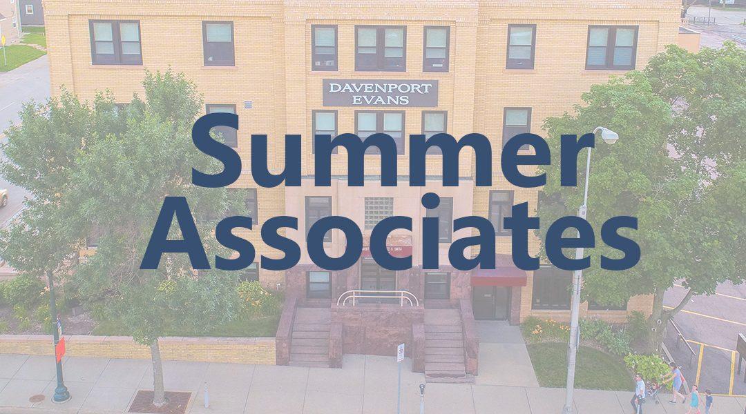 Davenport Evans Welcomes 2020 Summer Associates Frericks, Mabee, Schartz, and Vukovich